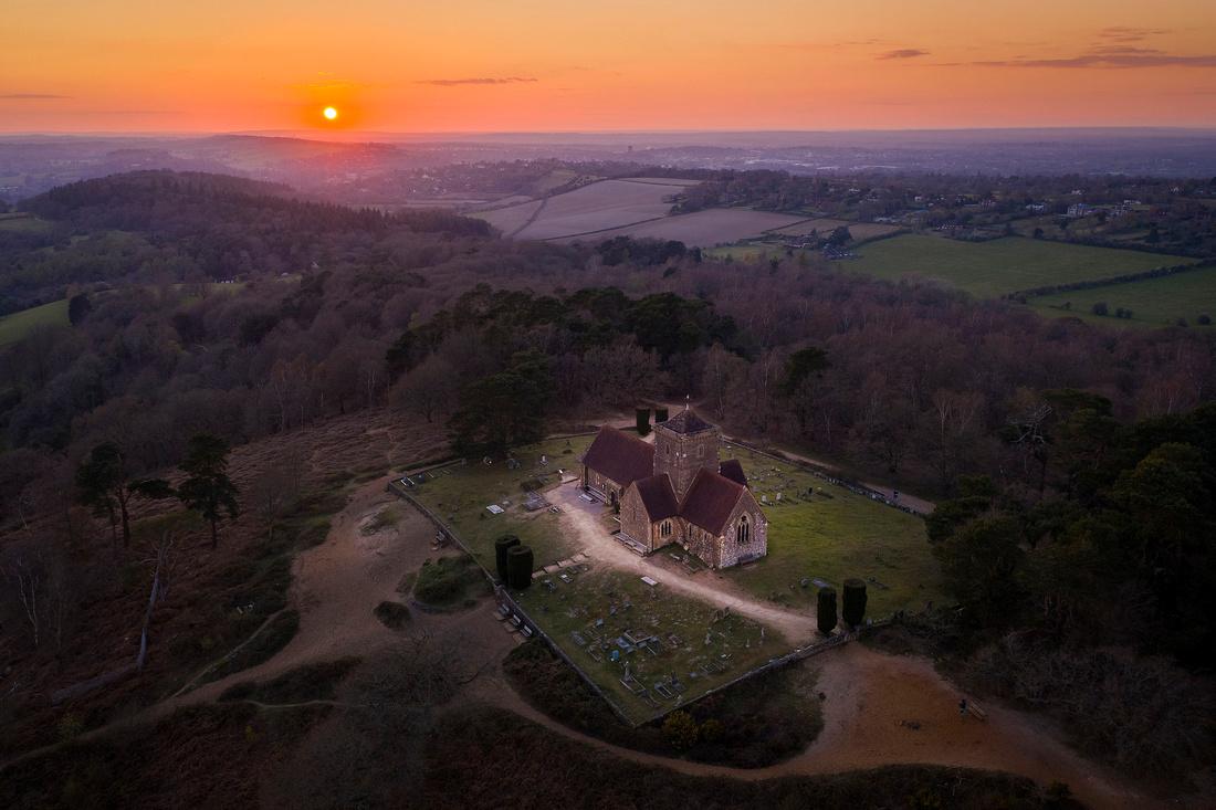 Aerial photo of St Martha's Church, Surrey