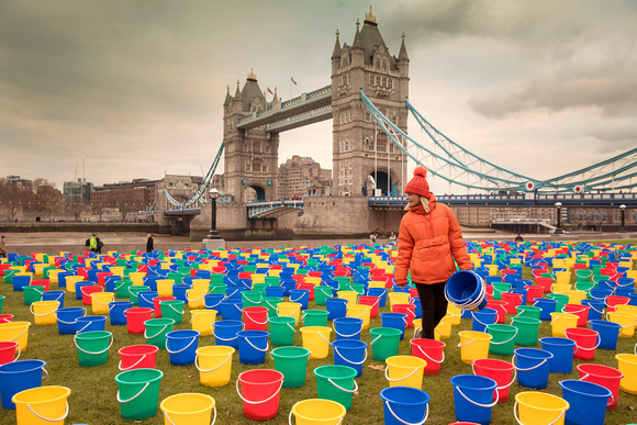 800 abandoned buckets appear at Potters Field Park, London for W